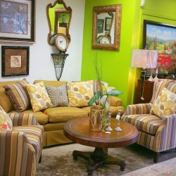 Striped Arm Chairs and Sofa