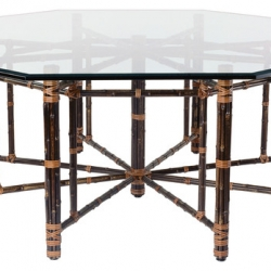 McGuire Bamboo and Glass Top Table