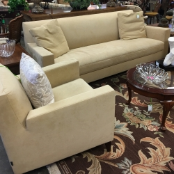 Consignment Furniture Cream Suede Sofa and Two Arm Chairs