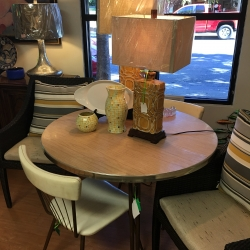 Consignment Furniture Vintage Round Metal Table and Leather Chairs