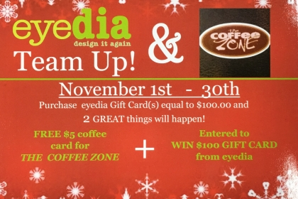 Holiday eyedia Gift Cards and FREE Coffee!