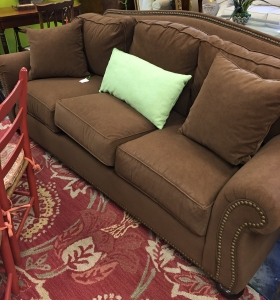 consignment-furniture-brown-suede-sofa