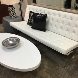 Modern White Leather Sofa and Coffee Table Furniutre Consignment Louisville Ky