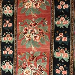 Black Border with Roses Area Rug