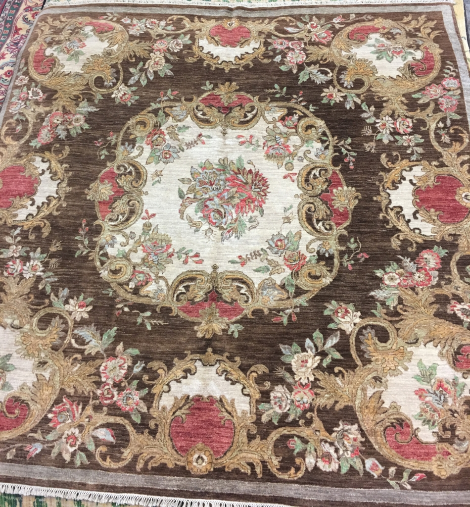 india wool brown and red aubusson area rug discount area rugs in louisville ky