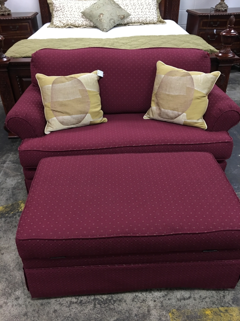 mauve sleeper love seat and storage ottoman consignment furniture for sale louisville ky