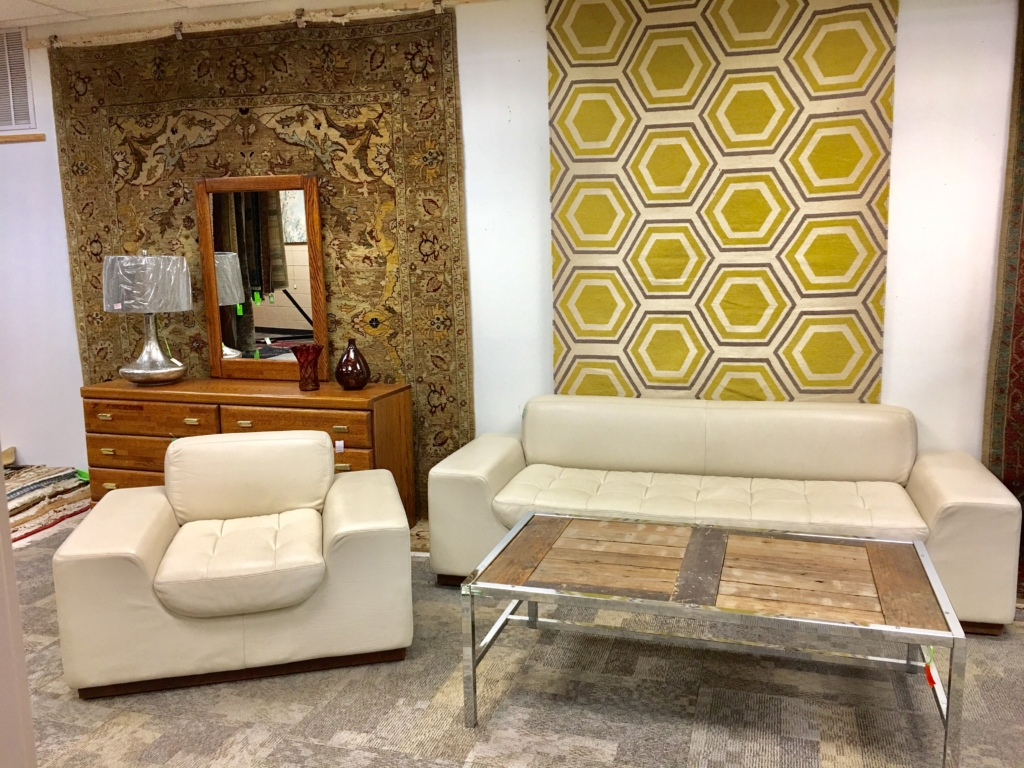 ... White Leather Sofa And Chair Wood And Chrome Coffee Table Consignment  Furniture For Sale Louisville KY ...