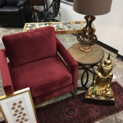 Red and Gold Chair Metal Gold Lamp Consignment Furniture for Sale Louisville KY