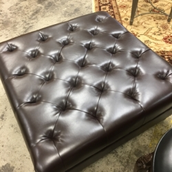 Square Tufted Brown Leather Ottoman Consignment Furniture for Sale Louisville KY