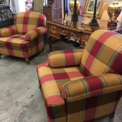 Striped Red and Yellow Arm Chairs Consignment Furniture for Sale Louisville KY