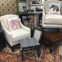 Cream Nail Head Arm Chairs | Consignment Furniture Louisville KY