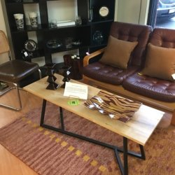 Leather Love Seat and Custom Coffee Table | Consignment Furniture Louisville KY