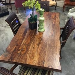 Wood Top Table, Metal Legs | Consignment Furniture Louisville KY