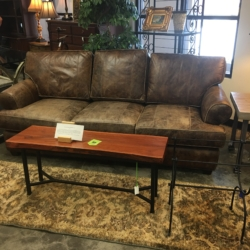 Arhaus Weathered Look Leather Sofa $2100.00    Furniture Consignment Louisville KY