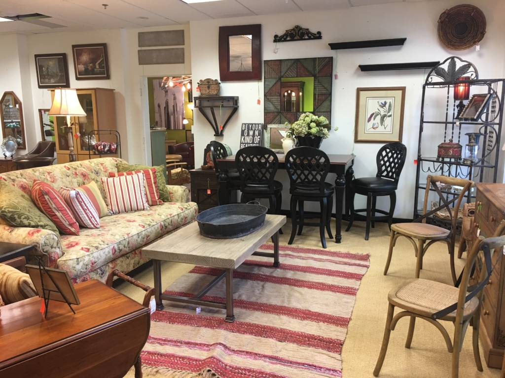 Floral Sofa, Bar Height Table And Stools Consignment Furniture Louisville KY  ...