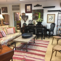 Floral Sofa, Bar Height Table and Stools Consignment Furniture Louisville KY