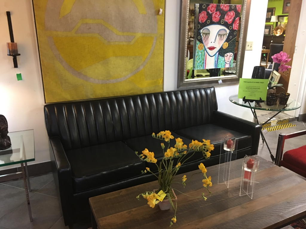 Delicieux ... Black Leather Mid Century Sleeper Sofa Consignment Furniture For Sale  Louisville KY