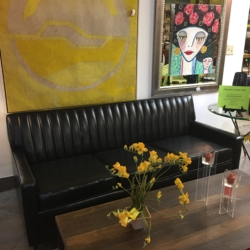 Black Leather Mid Century Sleeper Sofa Consignment Furniture for Sale Louisville KY