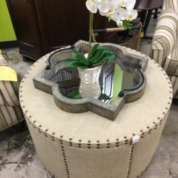 Round Taupe Nailhead Ottoman New and Consiged Furniture for Sale Louisville KY