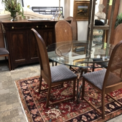 Glass Top Dining Table and Cane Back Chairs Consignment Furniture for Sale Louisville KY