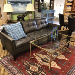 Dark Leather Sofa Gold Coffee Table Louisville KY Consignment Furniture for Sale