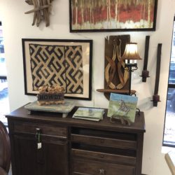 Dark Wood Cabinet and Orginal Local Art Louisville KY
