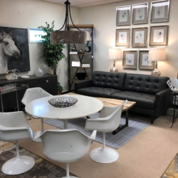 Gray Leather Sofa Round White Mid Century Dining Table and Chairs Consignment Furniture Louisville KY