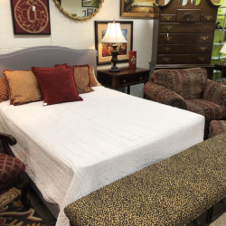 Gray Upholstered Headboard Animal Print Bench Consignment Furniture for Sale Louisville KY