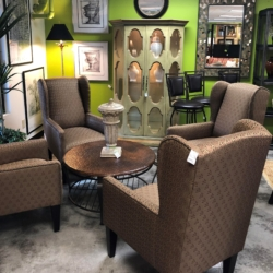 Wingback Nail Head Chairs Round Wood and Metal Coffee Table Consignment Furniture Louisville KY