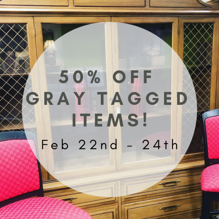50% Off Gray Tagged Items!