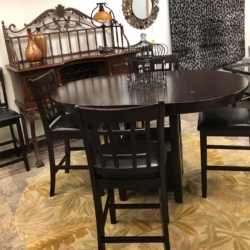 Dark Wood Bar Top Table Chairs and Wire Rack New and Consignment Furniture for Sale Louisville KY