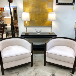 White Micro Suede Barrel Chairs New and Consignment Furniture Louisville KY eyedia
