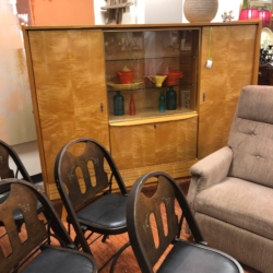 Mid Century Cabinet Vintage Wood and Leather Folding Chair Consignment Furniture for Sale Louisville KY eyedia
