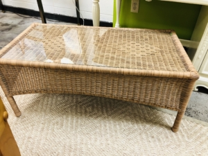 Wicker Coffee Table with Glass Top Consignment Furniture for Sale Louisville KY eyedia
