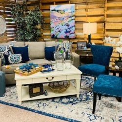 Blue and White Living Room Consignment Furniutre for sale at eyedia Louisville KY