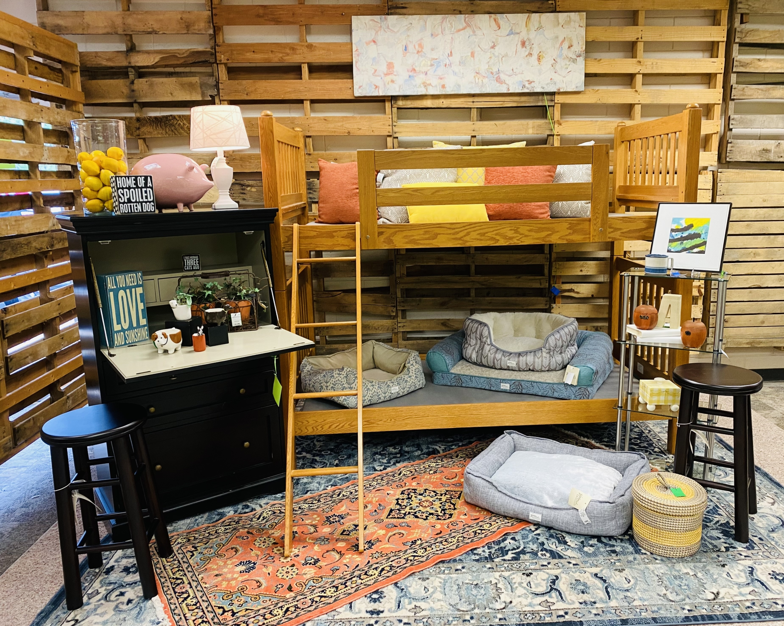 Lots of beds vignette at eyedia consignment furniture and home decor for sale Louisville KY